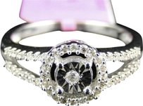 Jewelry Unlimited ,Ladies,White,Gold,Finish,Genuine,Diamond,Halo,Engagement,Wedding,Ring,14,Ct
