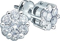 Jewelry Unlimited 14ct,Mens,Ladies,14k,White,Gold,Round,Diamond,Cluster,Flower,Studs,Earrings,5mm