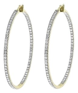 Jewelry Unlimited 10k,Yellow,Gold,Endless,Inout,Round,Pave,Diamond,40mm,Hoops,Huggie,Earrings,2ct