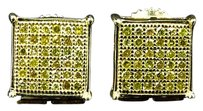 Jewelry Unlimited Mens,Ladies,10k,Yellow,Gold,Square,Prong,8mm,Diamond,Pave,Stud,Earrings,0.33,Ct