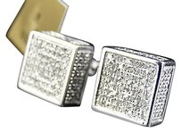 Jewelry Unlimited Mens,Ladies,10k,White,Gold,Diamond,3d,Cube,Pave,Shape,Stud,Earrings,10,Mm,.50,Ct