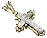 Jewelry Unlimited 14k,Yellow,Gold,Genuine,Hand,Set,Diamond,Mini,Cross,Pendant,Charm,1.25ct,2