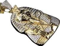Jewelry Unlimited Mens,Egyptian,Pharaoh,King,Tut,Real,Diamond,1.75,Pendant,10k,Yellow,Gold,13gm