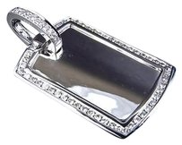Jewelry Unlimited Mens,Solid,10k,White,Gold,Real,Diamond,Dog,Tag,Piece,Pendant,Charm,1,Ct,1.5