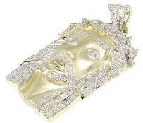 Jewelry Unlimited Mens,10k,Yellow,Gold,Matte,Real,Diamond,Jesus,Face,Piece,Pendant,Charm,1.4,Ct