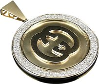 Jewelry Unlimited 10k,Yellow,Gold,Interlocking,Gg,Medallion,Mini,Diamond,Pendant,1.5,Ct