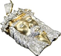 Jewelry Unlimited 10k,Yellow,Gold,Mens,1.25,In,White,Mini,Diamond,Jesus,Piece,Pendant,Charm,1.5,Ct