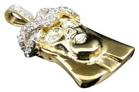 Jewelry Unlimited 10k,Yellow,Gold,Mens,1.5,In,White,Mini,Diamond,Jesus,Piece,Pendant,Charm,1.5,Ct
