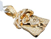 Jewelry Unlimited Solid,Rose,Gold,Mens,Ladies,Round,Pave,Diamond,Jesus,Face,Pendant,Charm,4,Ct