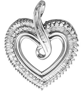 Jewelry Unlimited 34ct,Ladies,Roundbaguette,1,Inch,Diamond,Heart,Fashion,Pendant,Charm,Necklace
