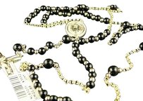 Jewelry Unlimited 10k,Yellow,Gold,Rosary,Diamond,Necklace,Chain,Onyx