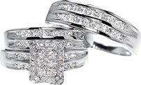 Jewelry Unlimited 10k,White,Gold,Mens,Ladies,Diamond,Engagement,Wedding,Trio,Ring,Set,1.29,Ct