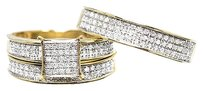 Jewelry Unlimited 10k,Yellow,Gold,Mens,Ladies,Pave,Diamond,Trio,Wedding,Engagement,Ring,Set,0.75ct