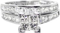 Jewelry Unlimited 14k,White,Gold,Ladies,Princess,Diamond,Engagement,Wedding,Bridal,Ring,Set,1.50ct