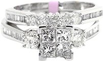 Jewelry Unlimited Ladies,Princess,Cut,Invisible,Set,Diamond,Engagement,Ring,In,10k,White,Gold,1,Ct
