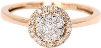 Jewelry Unlimited Ladies,Round,Cut,Pave,Diamond,Halo,Style,Engagement,Ring,In,14k,Rose,Gold,0.33ct