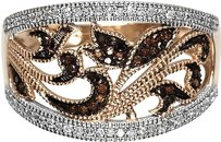 Jewelry Unlimited Ladies,Red,Diamond,Designer,Fashion,Band,Ring,In,10k,Rose,Gold,With,.25,Ct,13,Mm