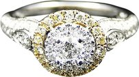 Jewelry Unlimited Ladies,14k,White,Gold,Round,Cut,Diamond,Halo,Engagement,Fashion,Ring,0.33,Ct