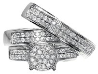 Jewelry Unlimited 10k,White,Gold,Round,Diamond,Engagement,Bridal,Wedding,Ring,Trio,Set,1.35,Ct