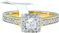 Jewelry Unlimited Ladies,14k,Yellow,Gold,Princess,Cut,Engagement,Bridal,Solitaire,Diamond,Ring,Set