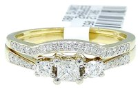 Jewelry Unlimited 10k,Yellow,Gold,Round,Cut,Engagement,Bridal,Solitaire,Diamond,Ring,Set,0.37,Ct
