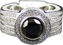 Jewelry Unlimited Mens,White,Gold,Round,Cut,Black,White,Diamond,Solitiare,Pave,Designer,Ring,5,Ct