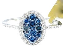 Jewelry Unlimited Ladies,10k,White,Gold,Round,Cut,Blue,Diamond,Oval,Engagement,Fashion,Ring,0.70ct