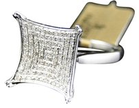 Jewelry Unlimited 10k,White,Gold,Round,Cut,Pave,Diamond,Xl,Kite,Engagement,Fashion,Ring,0.33,Ct