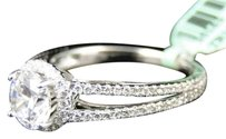 Jewelry Unlimited Womens,White,Gold,Diamond,Split,Shank,Halo,Semi,Mount,Solitaire,Engagement,Ring