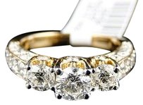 Jewelry Unlimited 14k,Ladies,Yellow,Gold,Round,3,Stone,Diamond,Bridal,Engagement,Ring,2.50,Ct