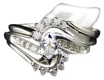 Jewelry Unlimited 10k,White,Gold,Ladies,Engagement,Wedding,Diamond,Bridal,Ring,Set,0.27,Ct
