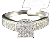 Jewelry Unlimited Ladies,White,Gold,Finish,Round,Cut,Diamond,Pave,Engagement,Wedding,Band,Ring,14