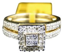 Jewelry Unlimited 14k,Ladies,Yellow,Gold,Princess,Round,Diamond,Engagement,Wedding,Band,Ring,Set