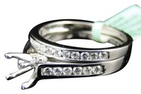 Jewelry Unlimited Womens,18k,White,Gold,Diamond,Princess,Cut,Semi,Mount,Brial,Wedding,Ring,Set
