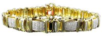 Jewelry Unlimited Mens,Pave,142.5mm,Yellow,Gold,Finish,Round,Cut,Genuine,Diamond,Bracelet,1.0,Ct