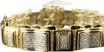 Jewelry Unlimited Mens,10k,Yellow,Gold,Pave,Set,Big,Real,Diamond,Bracelet,16mm,8.5,Inches