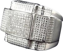 Jewelry Unlimited Sterling,Silver,Cross,Hatch,Genuine,Diamond,Pinky,Ring,White,Gold,Finish,1.5,Ct