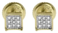Jewelry Unlimited Yellow,Gold,Finish,Men,Ladies,5mm,Pave,Diamond,4,Prong,Mini,Stud,Earrings,120ct