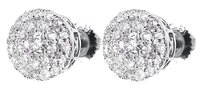 Jewelry Unlimited 14k,White,Gold,Mens,Ladies,Round,Diamond,Double,Halo,7.5mm,Studs,Earrings,34ct