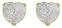 Jewelry Unlimited 10k,Yellow,Gold,Ladies,Pave,Round,Diamond,Heart,Prong,Studs,Earrings,0.45,Ct