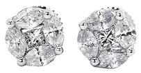 Jewelry Unlimited Men,Ladies,14k,White,Gold,Princess,Marquise,Cut,6mm,Diamond,Stud,Earrings,1.35ct