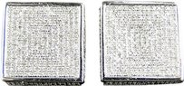 Jewelry Unlimited Mens,Ladies,10k,White,Gold,Diamond,3d,Square,Pave,Shape,Stud,Earrings,18mm
