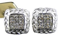 Jewelry Unlimited Mens,Ladies,10k,White,Gold,Brown,Cognac,Diamond,Square,Pave,Shape,Stud,Earrings