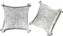 Jewelry Unlimited Mens,Ladies,10k,White,Gold,Diamond,Xl,Kite,Pave,Shape,Stud,Earrings,17mm,1.35,Ct
