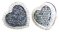Jewelry Unlimited Ladies,14k,Whtie,Gold,Blue,Diamond,Heart,Pave,Shape,Stud,Earrings,13,Mm,1,Ct