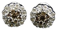 Jewelry Unlimited 10k,White,Gold,Round,Cut,Cognacbrown,Diamond,Stud,Earrings,6,Mm,12,Ct