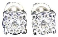 Jewelry Unlimited 14k,White,Gold,Mens,Or,Ladies,Round,Diamond,Solitaire,Look,Studs,Earrings,.65,Ct