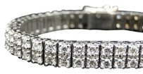Jewelry Unlimited Mens,Solid,White,Gold,2,Row,Genuine,8,Mm,Vs,Diamond,Bracelet,Bangle,13.8,Ct