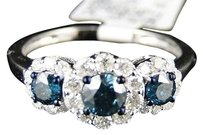 Jewelry Unlimited 10k,White,Gold,Womens,Blue,Diamond,Three,Stone,Diamond,Engagement,Ring,1.03,Ct