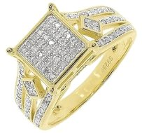 Jewelry Unlimited Yellow,Gold,Finish,Ladies,Round,Pave,Diamond,Engagement,Wedding,Ring,0.66,Ct